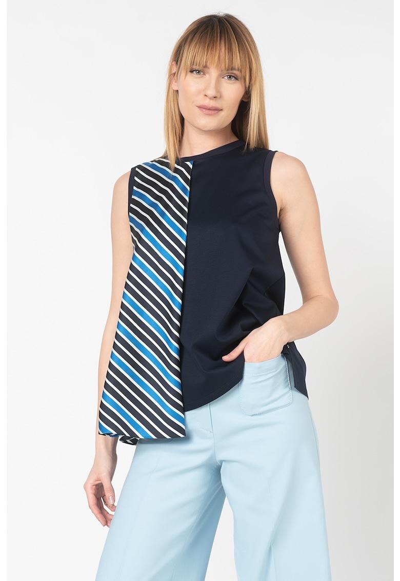 Bluza din amestec de modal cu strat exterior in dungi