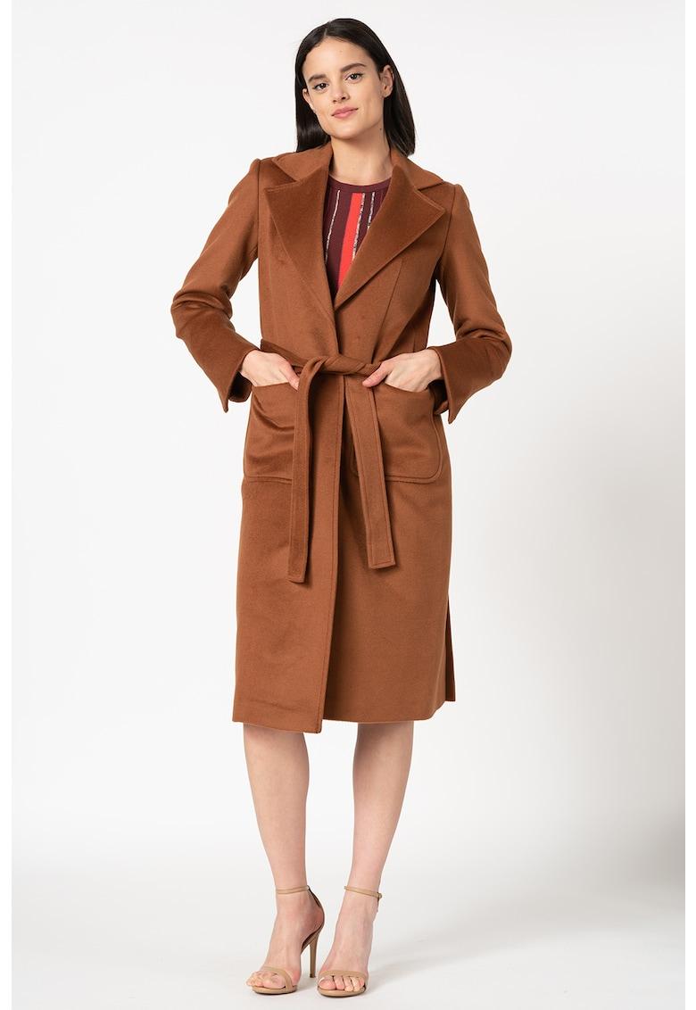 Palton de lana cu cordon in talie Runaway
