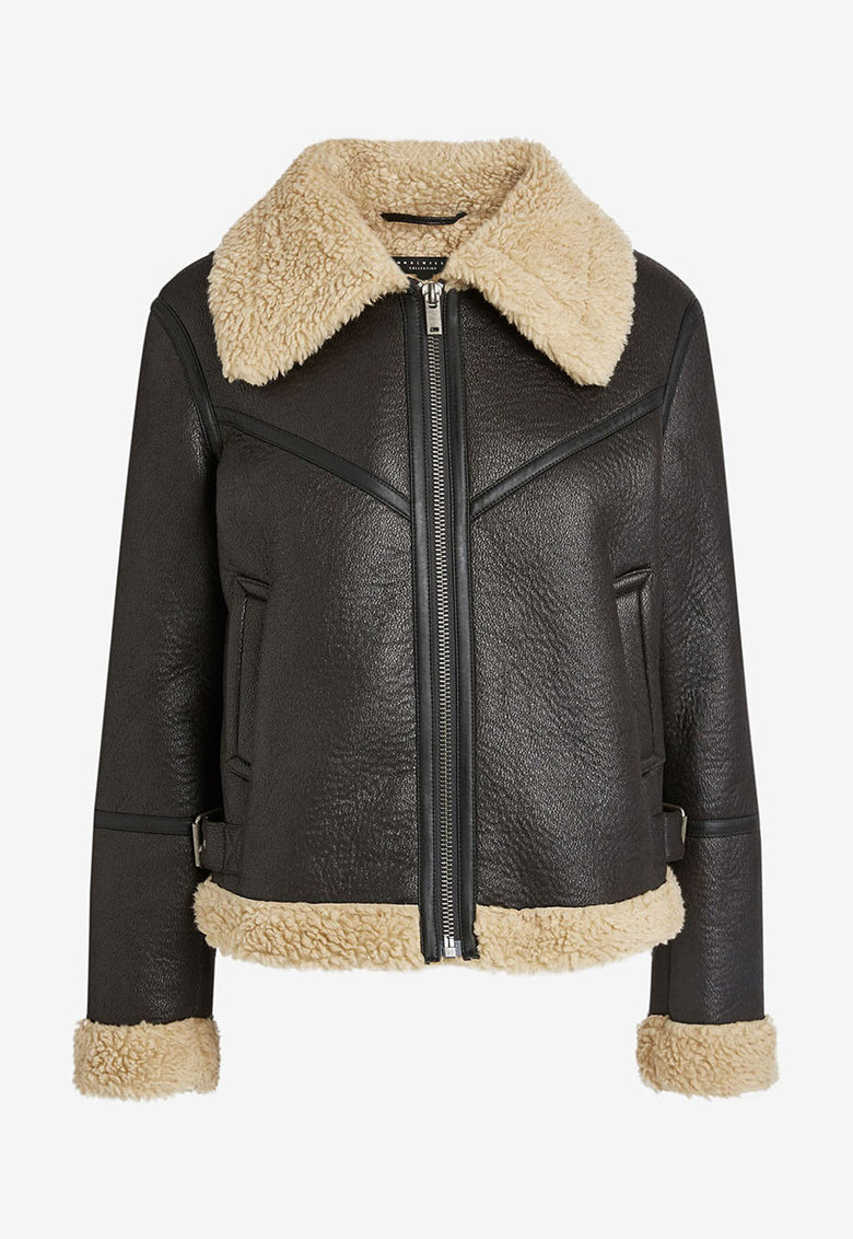 Jacheta de piele ecologica cu garnituri din blana shearling sintetica