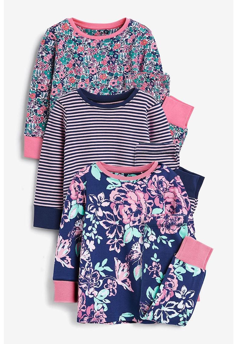 NEXT Set de pijamale cu model floral si dungi - 3 piese