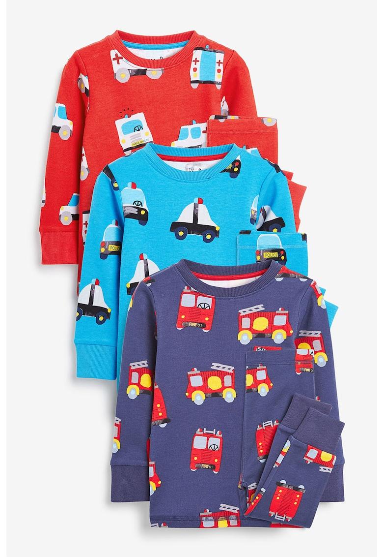 NEXT Set de pijamale cu imprimeu cu masini - 3 perechi
