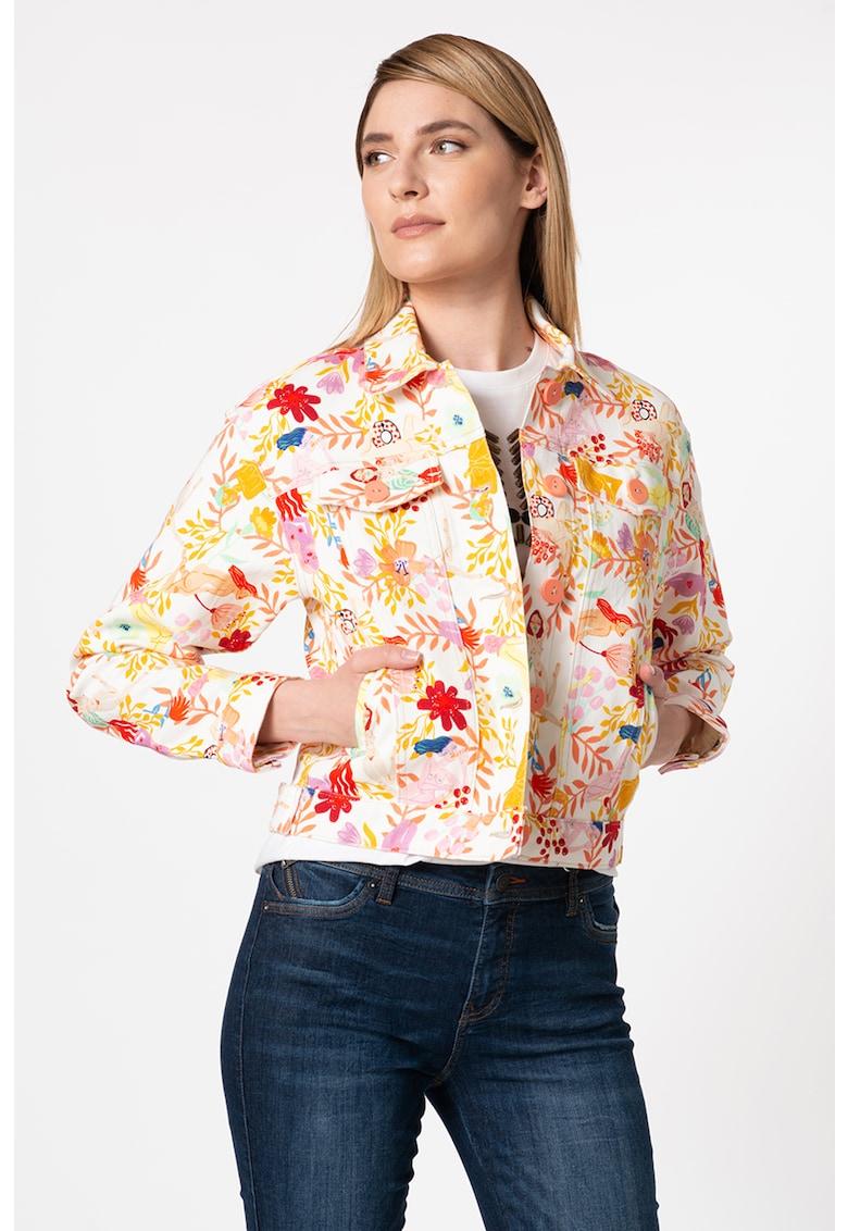 Jacheta de denim cu imprimeu floral Chaq Lisam