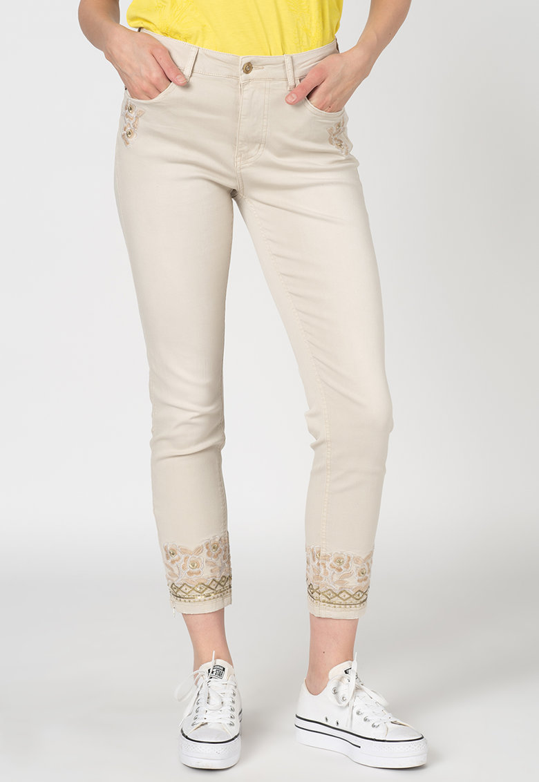 Pantaloni skinny din amestec de modal cu slituri cu fermoar la glezna Carmina imagine