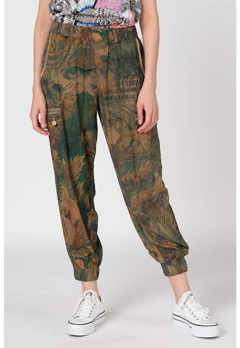Pantaloni vaporosi cu imprimeu abstract Corf