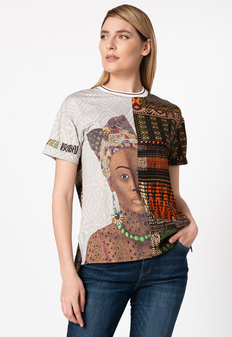 Bluza cu maneci scurte si imprimeu Pisa imagine