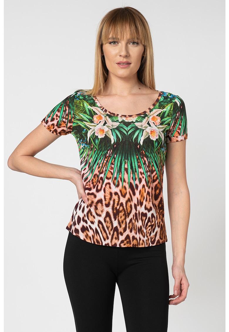 Tricou cu imprimeu tropical Jungle