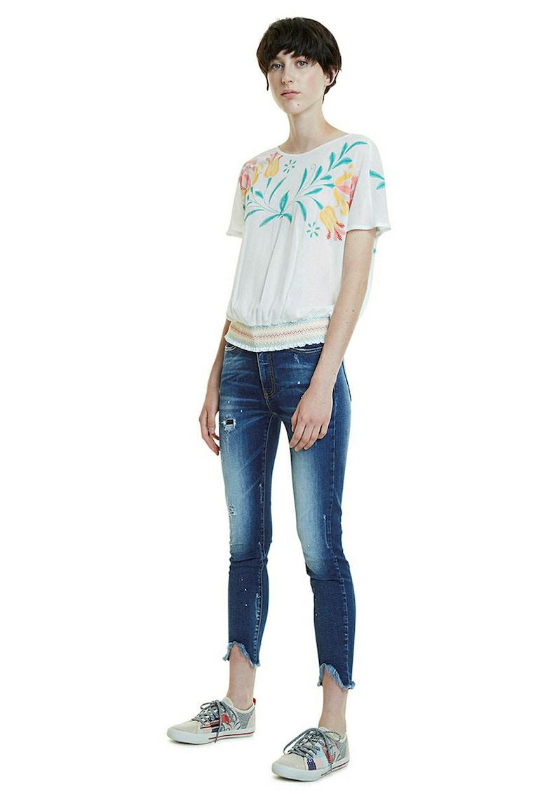 Bluza cu imprimeu floral si terminatie elastica