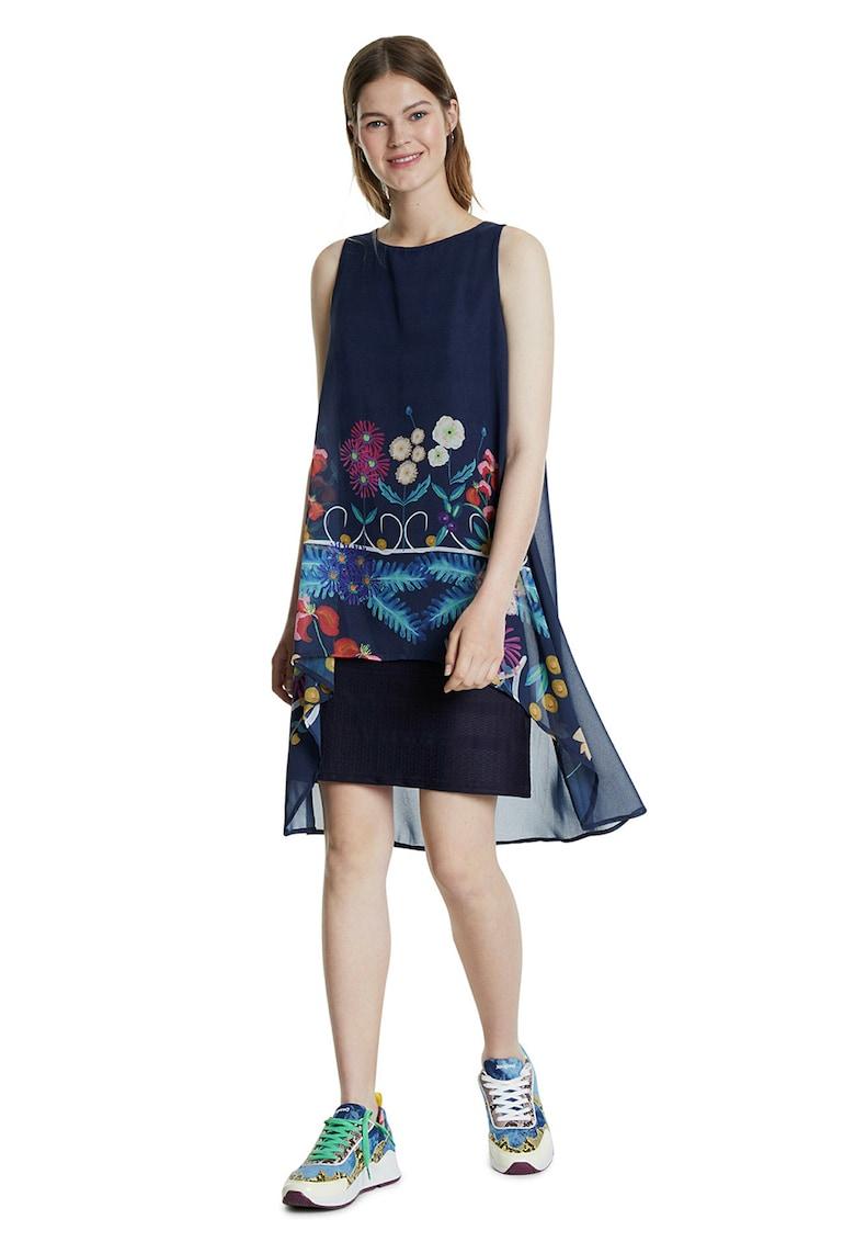 Rochie cu croiala asimetrica si imprimeu floral