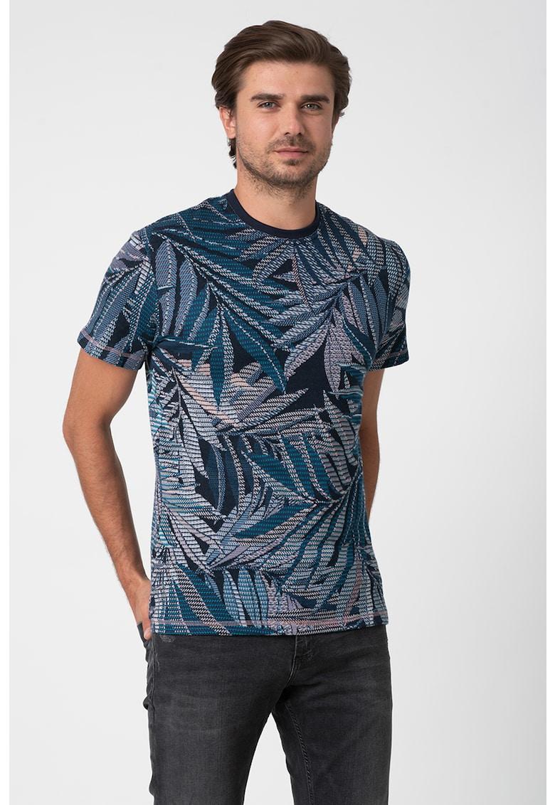 Tricou cu decolteu la baza gatului si imprimeu tropical Lowell