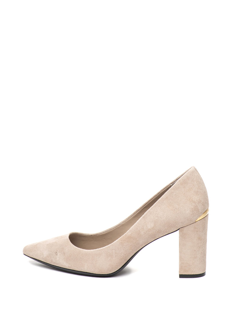 Pantofi de piele intoarsa - cu toc masiv Eva