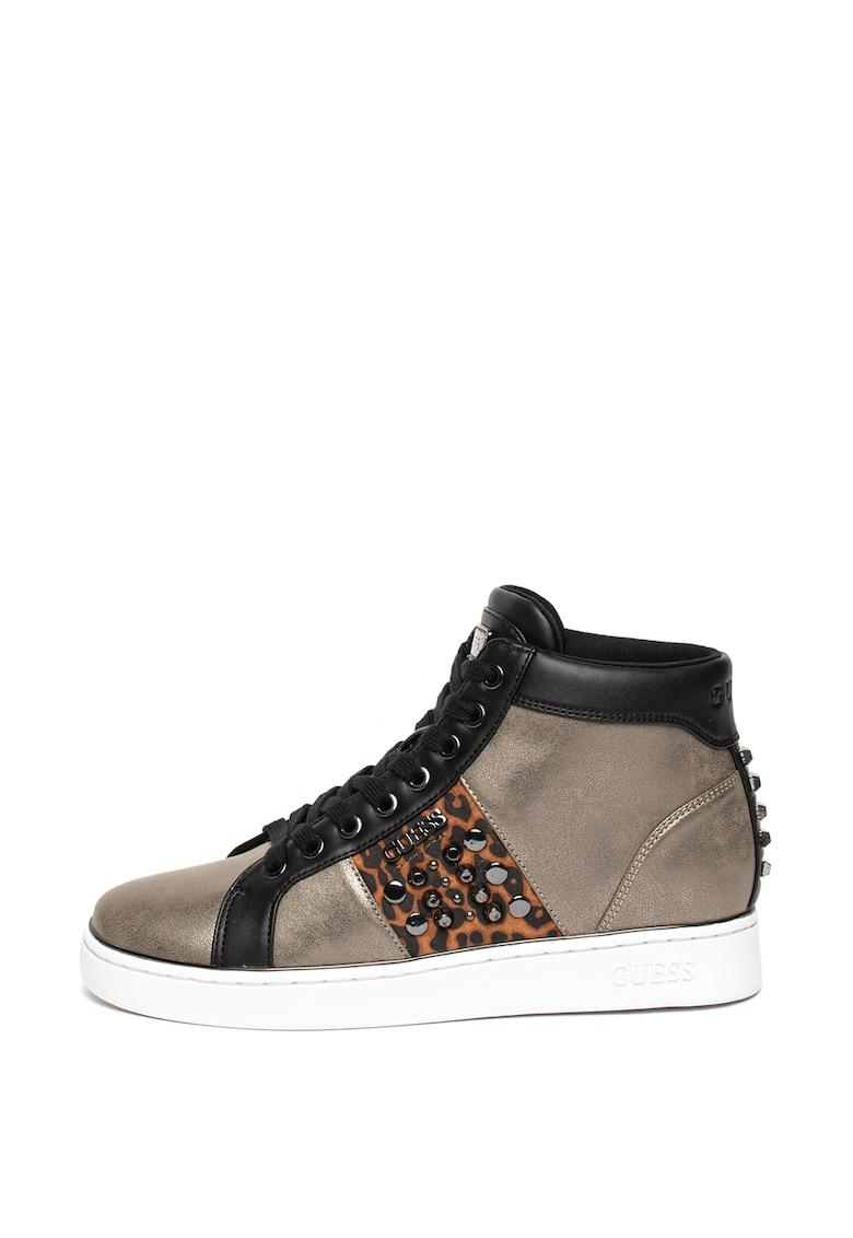 Pantofi sport inalti cu aspect metalizat