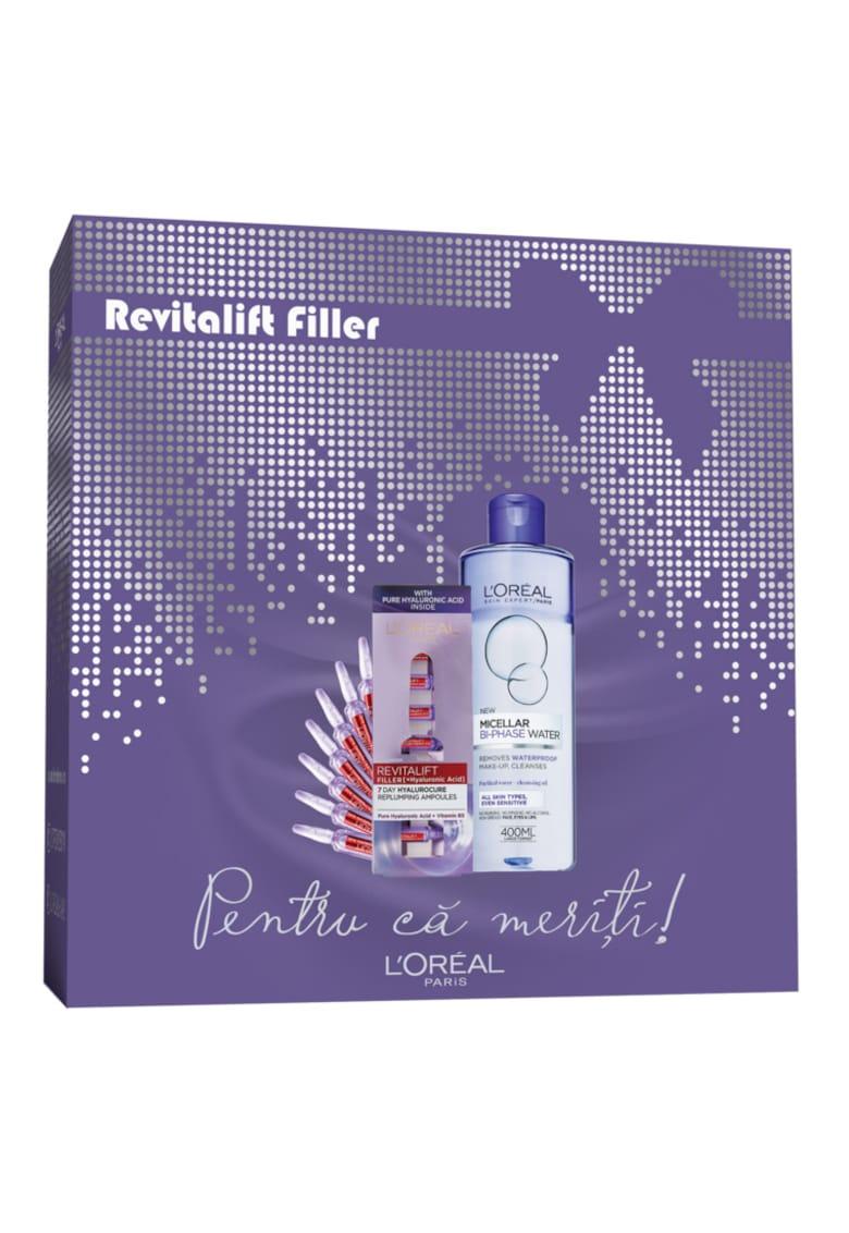 LOreal Paris Trusa : Ser fiole antirid Revitalift Filler cu acid hialuronic - 7x1.3 ml + Apa micelara bifazica Skin Expert pentru machiajul rezistent la transfer - 400 ml