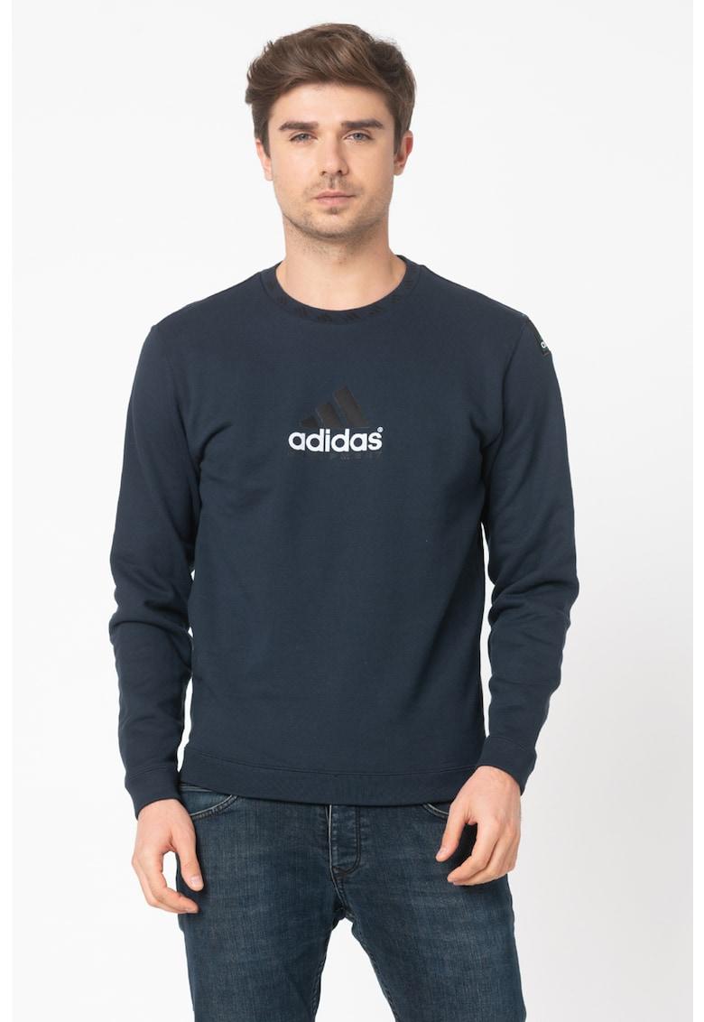 Bluza sport cu decolteu la baza gatului si logo