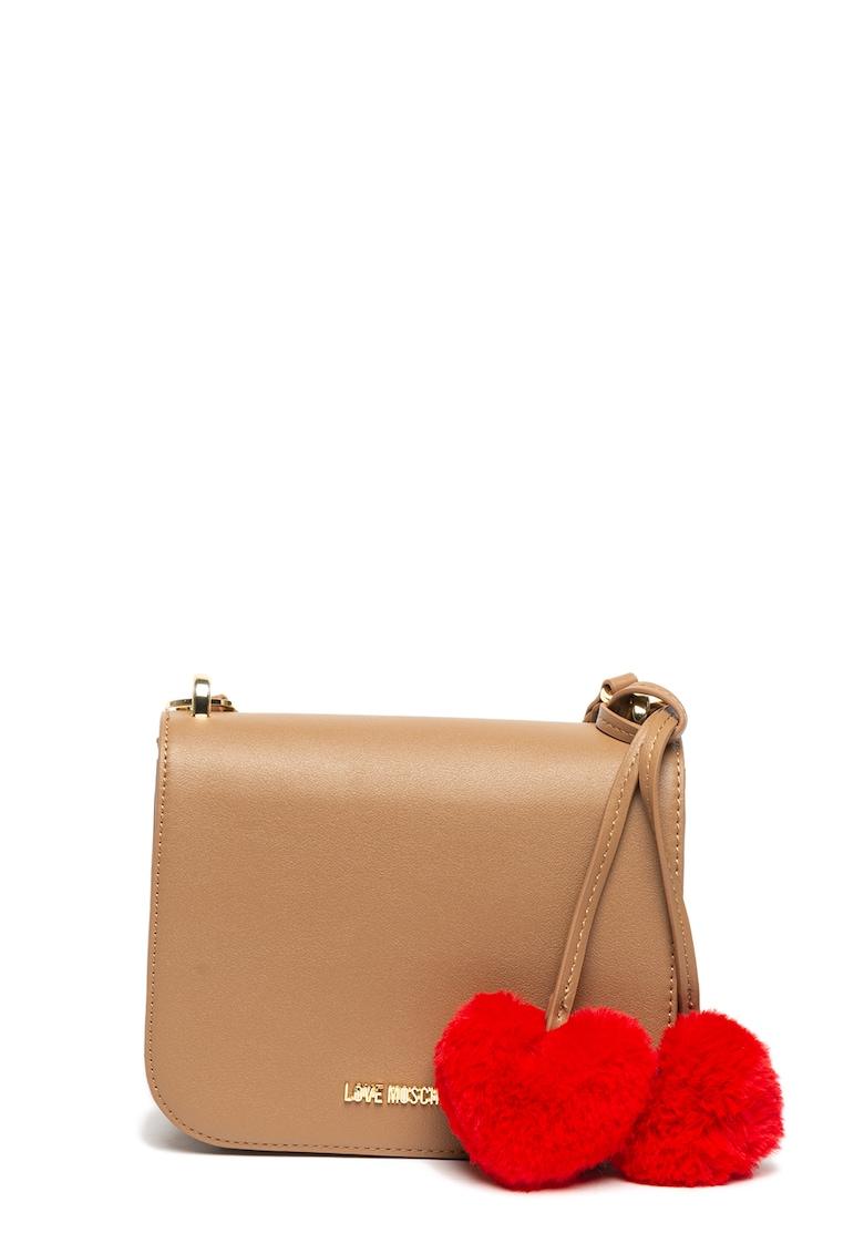 Geanta de piele ecologica – cu bareta de umar si ciucuri in forma de inima de la Love Moschino