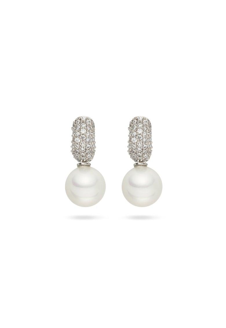 Cercei cu perle organice si zirconia