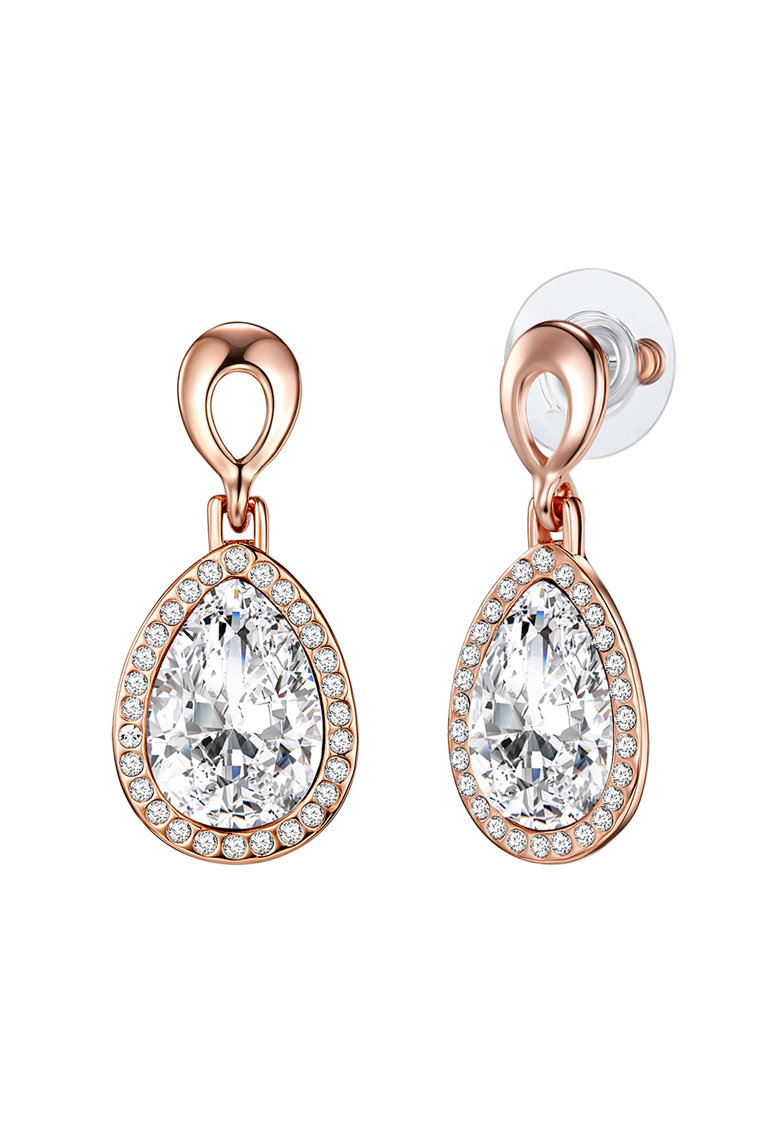 Highstreet Jewels Cercei drop placati cu aur rose si rodiu - si decorati cu cristale Swarovski® si cristale de sticla