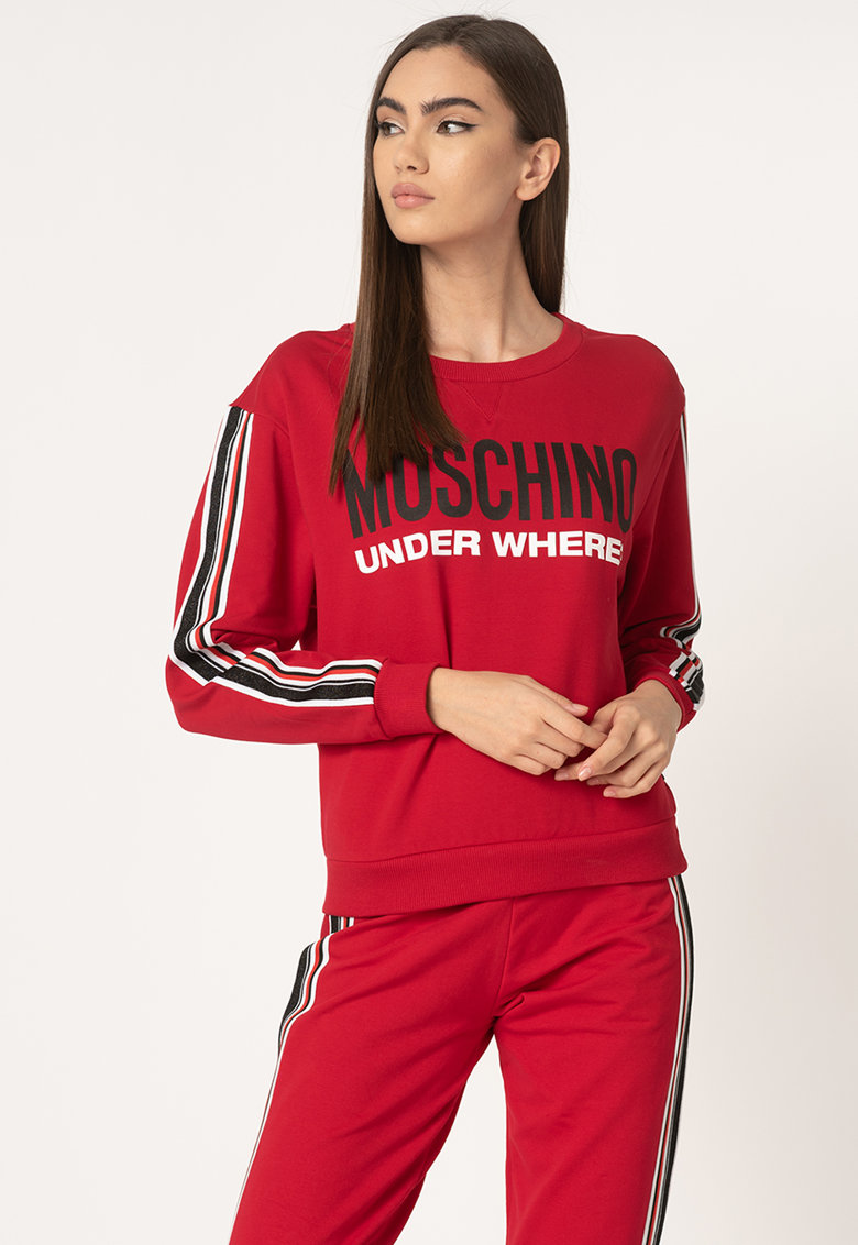 Bluza sport de casa - cu imprimeu logo si segmente laterale contrastante
