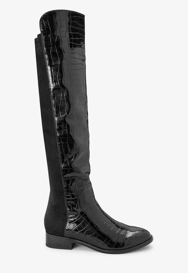 Cizme de piele intoarsa ecologica - lungi peste genunchi - cu insertii lacuite