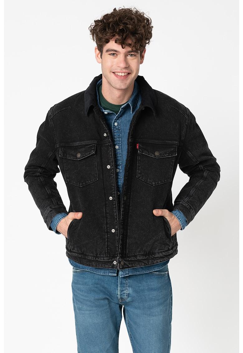 Jacheta din denim - cu captuseala din material teddy si guler din reiat