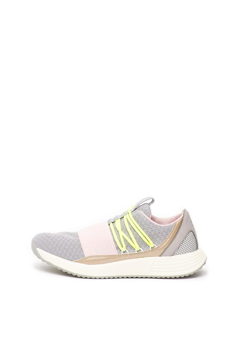 Pantofi sport tricotati cu garnituri de piele ecologica Breathe