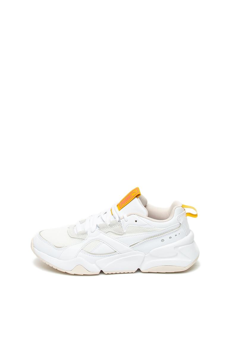 Pantofi sport de piele ecologica - cu talpa masiva Nova