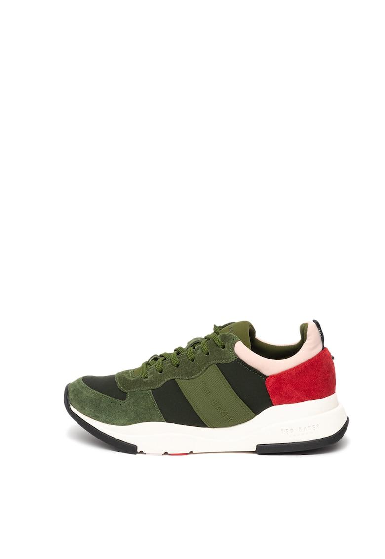 Pantofi sport cu model colorblock si garnituri din piele intoarsa Weverdi imagine