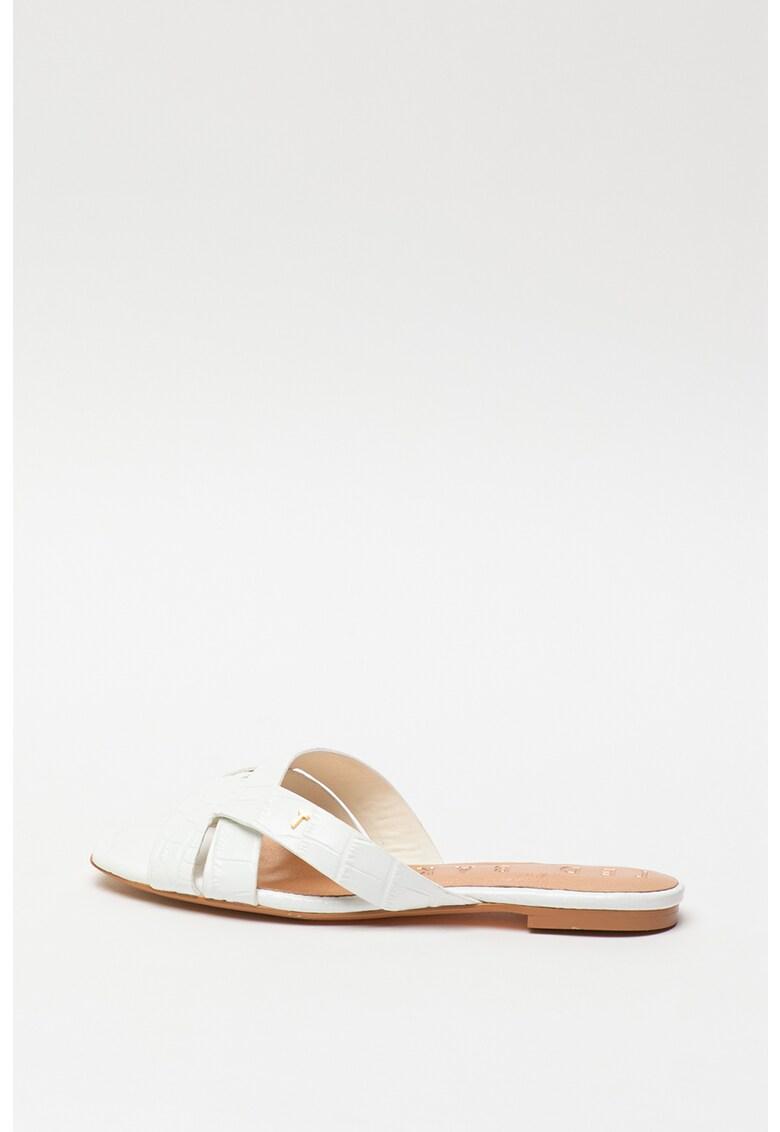 Papuci de piele cu model piele de reptila Zelania