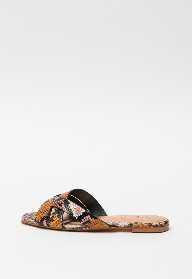 Papuci de piele cu model piele de reptila Zelanis