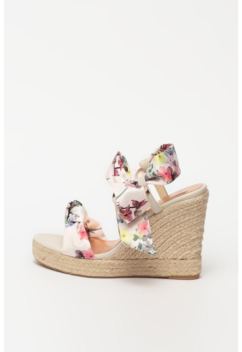Sandale tip espadrile cu talpa wedge si imprimeu floral Kelispe