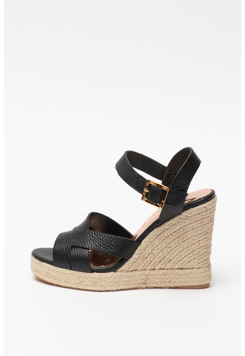Sandale tip espadrile de piele cu talpa wedge Sellana fashiondays.ro