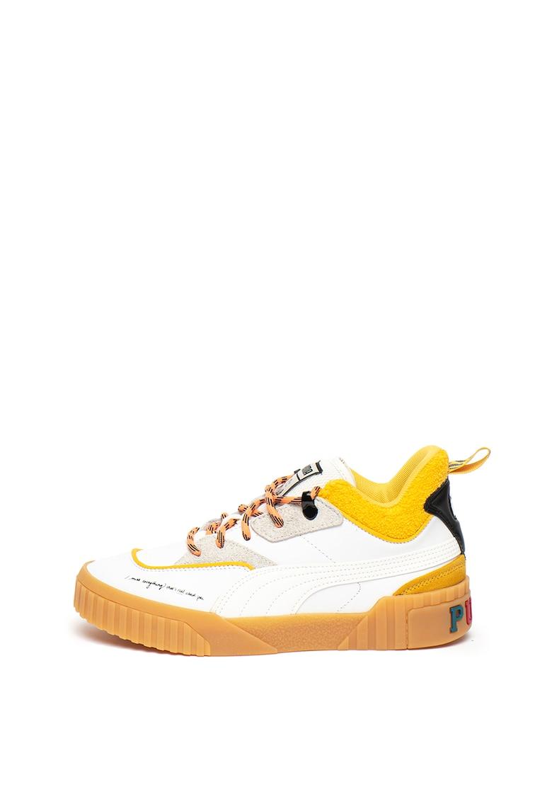 Pantofi sport flatform de piele si piele intoarsa 3