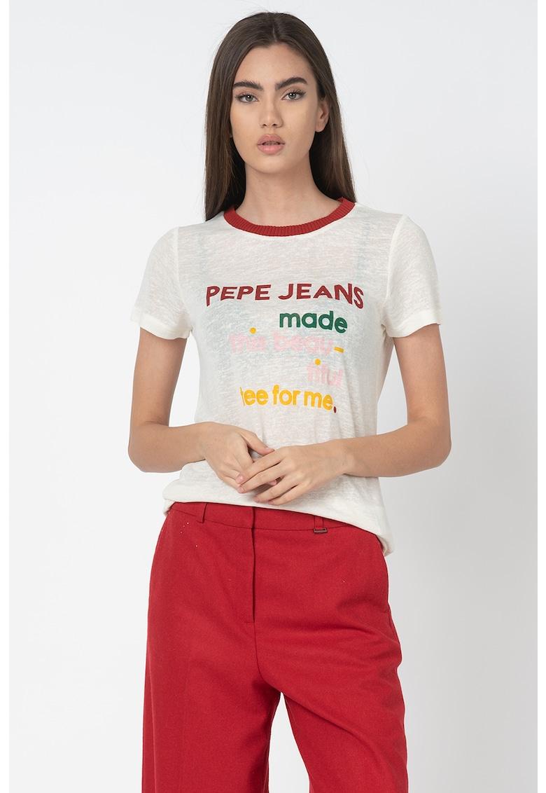 Tricou din tricot fin cu imprimeu text Aurora