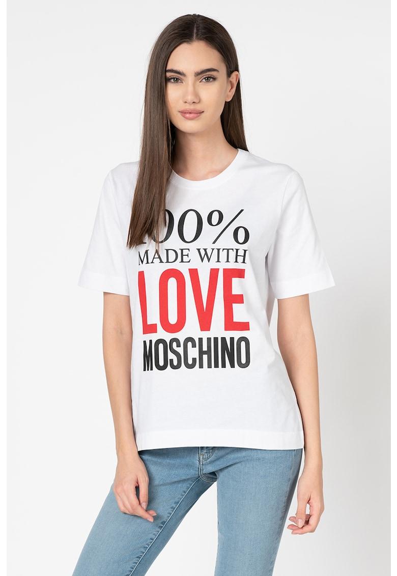 Love Moschino Tricou cu decolteu la baza gatului si aplicatie text