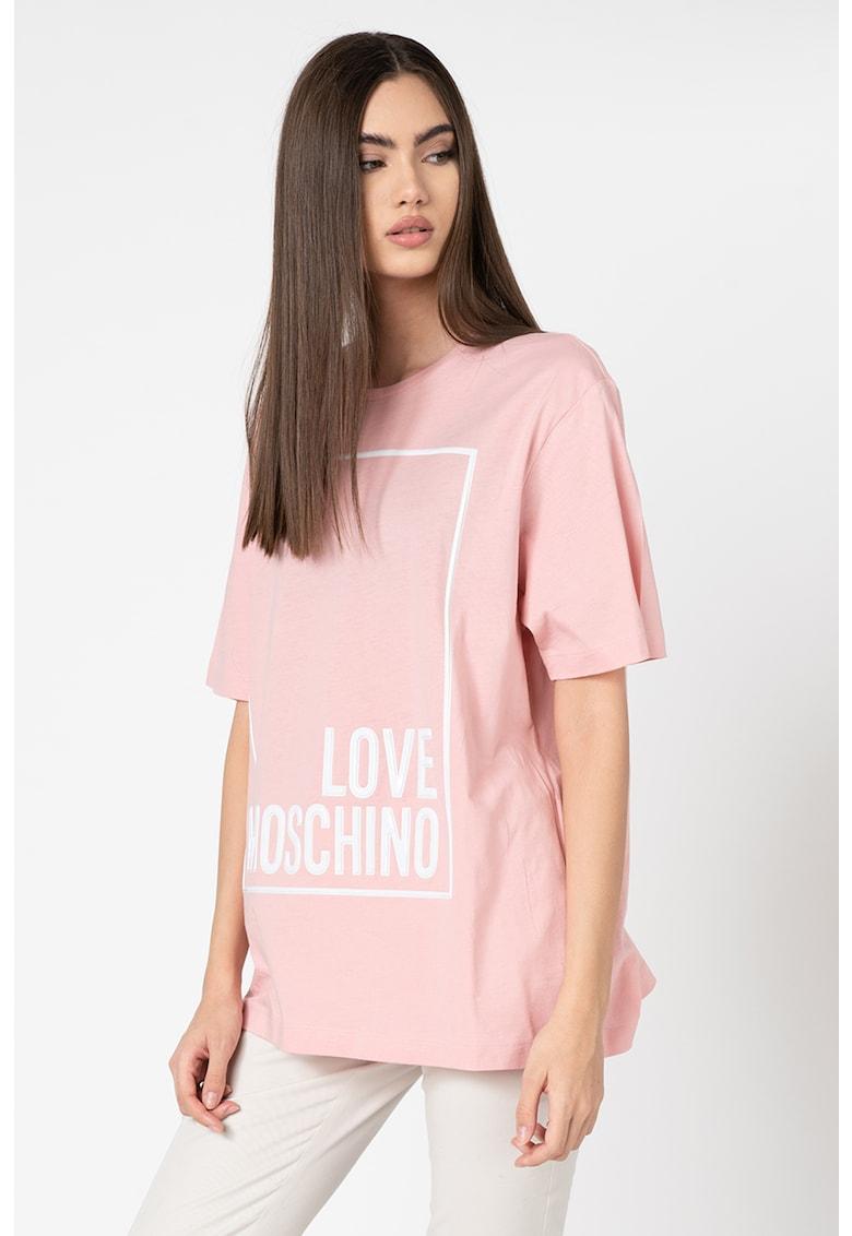 Love Moschino Tricou cu imprimeu logo si decolteu la baza gatului