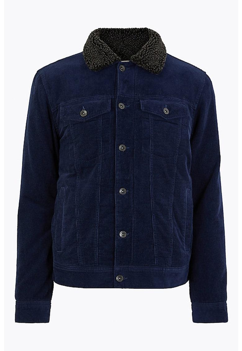 Jacheta din reiat cu guler de blana sintetica