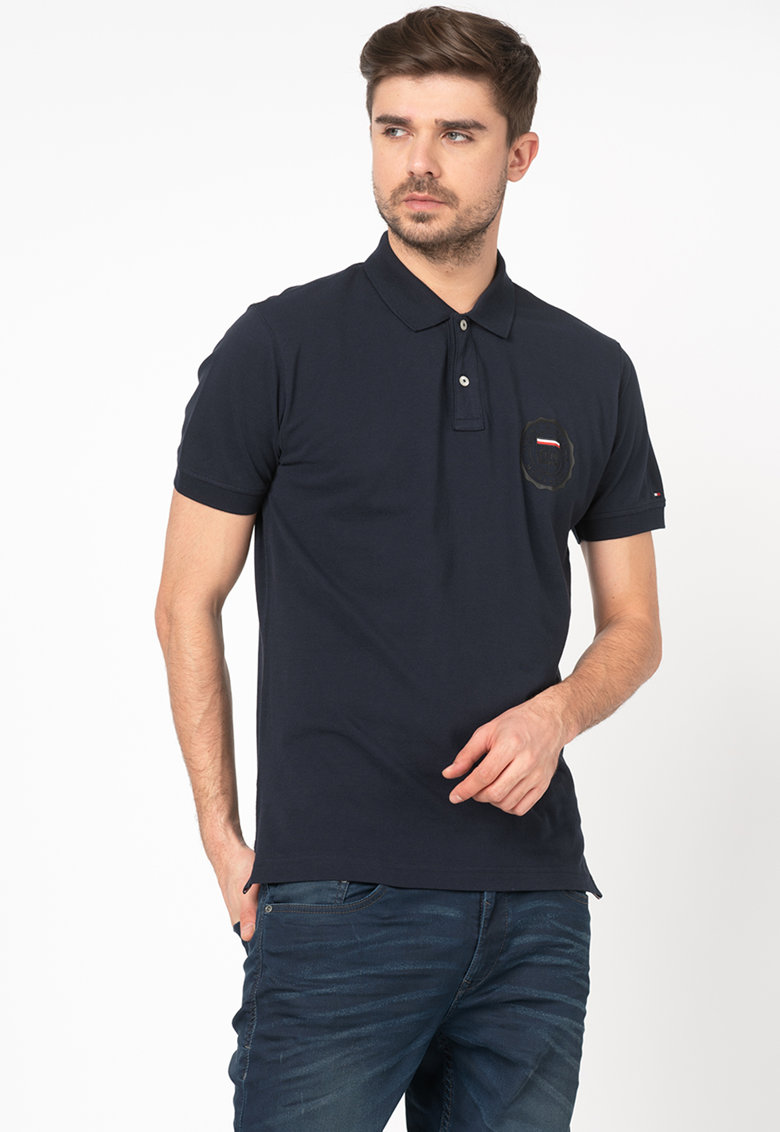 Tommy Hilfiger Tailored Tricou polo regular fit din material pique cu aplicatie logo