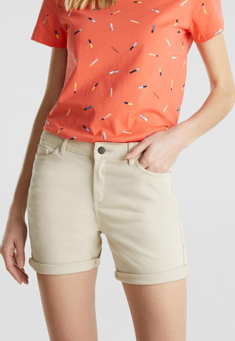 Pantaloni scurti din denim cu terminatii pliabile
