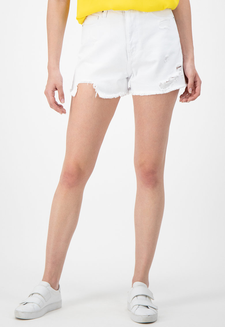 Pantaloni scurti din denim - cu detalii cu aspect deteriorat