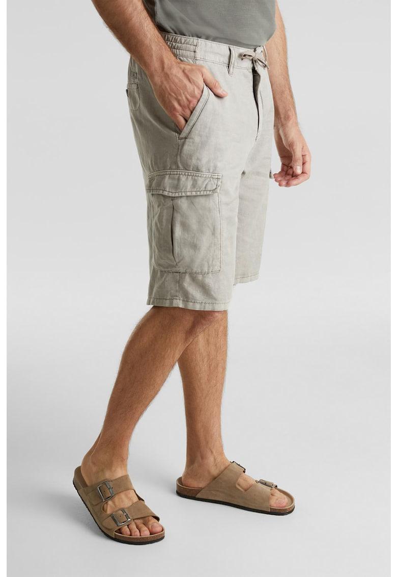 Pantaloni scurti cargo din amestec de in si bumbac organic imagine