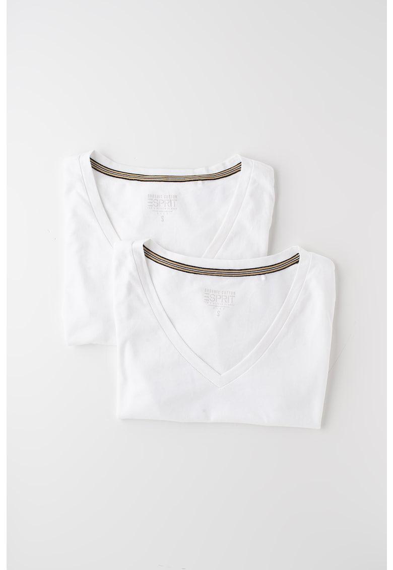 Esprit Set de tricouri din bumbac organic si amestec de modal - 2 piese