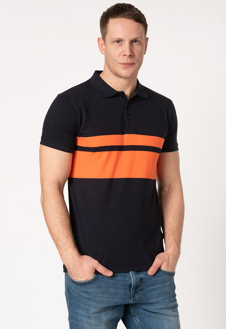 Tricou polo slim fit din bumbac organic cu model in dungi