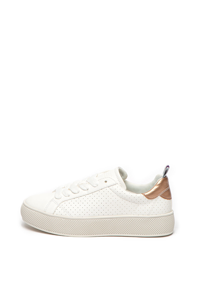 Pantofi sport flatform de piele ecologica