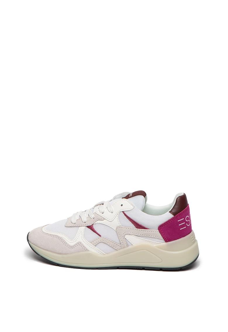 Pantofi sport cu garnituri de piele intoarsa si insertii de plasa imagine