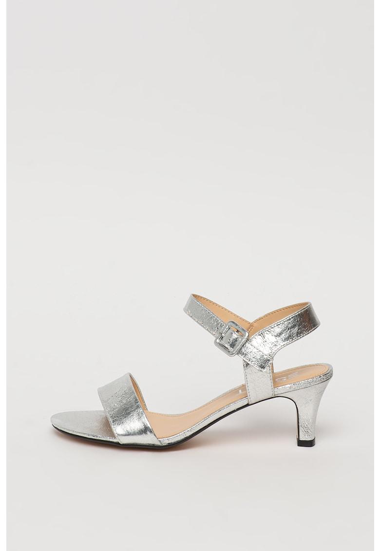 Sandale de piele ecologica cu toc masiv