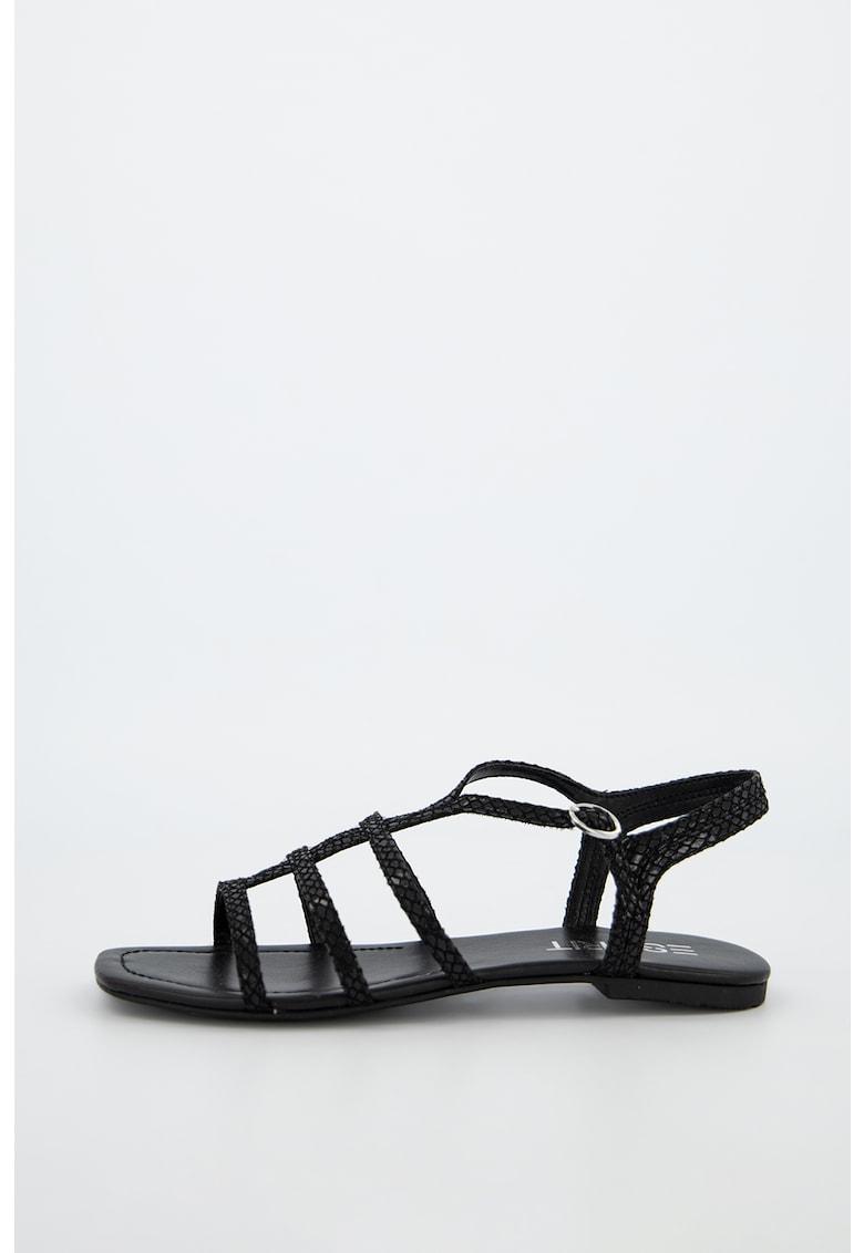 Sandale din piele ecologica cu model cu barete multiple si aspect de piele de sarpe imagine fashiondays.ro
