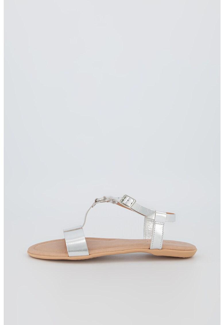 Sandale de piele cu aspect metalizat imagine fashiondays.ro