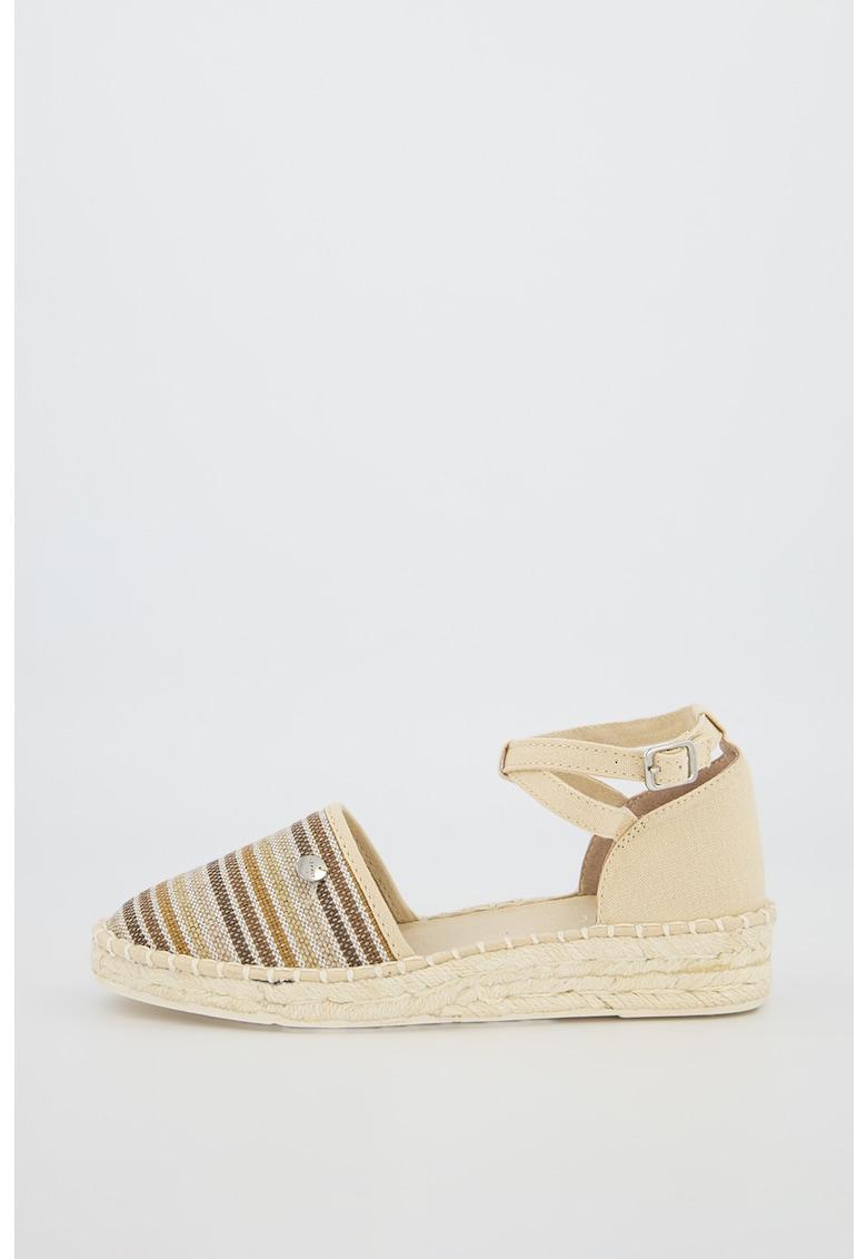 Sandale tip espadrile cu barete incrucisate pe glezna