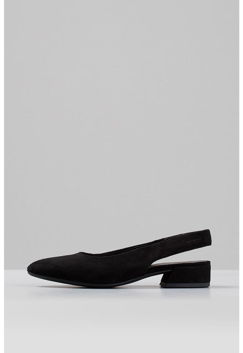 Sandale slingback de piele intoarsa