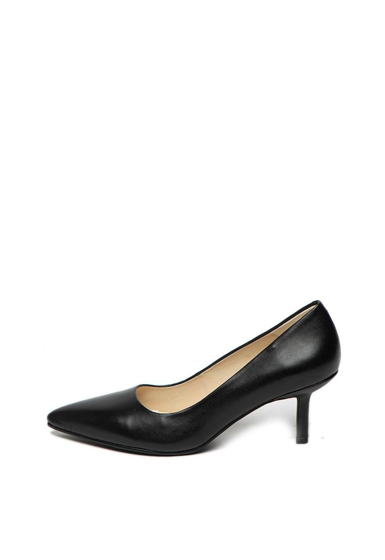 Pantofi din piele cu varf ascutit si toc kitten Pauline