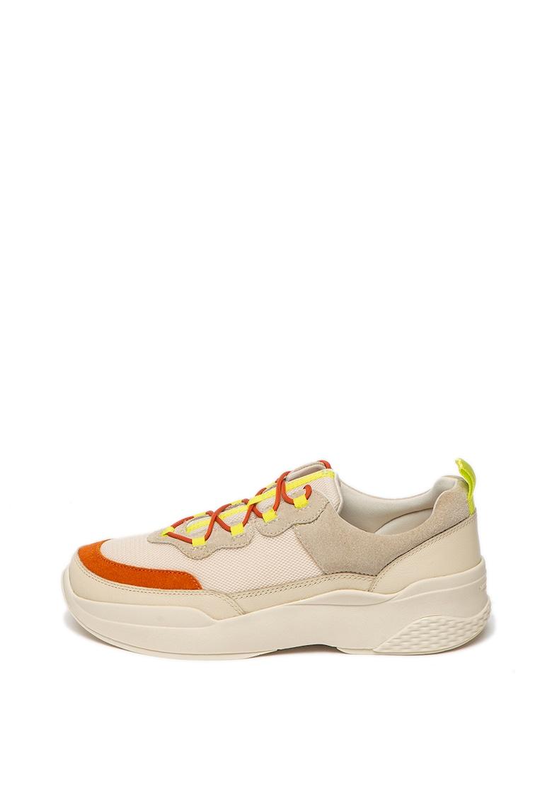 Pantofi sport din piele si piele intoarsa - cu insertii din plasa Lexy imagine